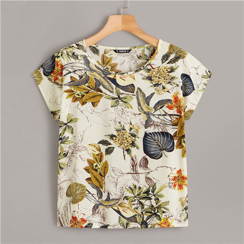SHEIN Tropical Print Cap Sleeve Boho Style Summer Top Women Clothes 2019 Korean Round Neck Womens Tops And Blouses