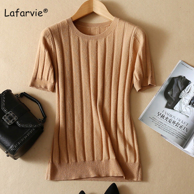 Lafarvie O-neck Knitted Wool Blended Sweater Women Short Sleeve Pullover Casual Soft Slim Solid Color Large Size Pull Jumper