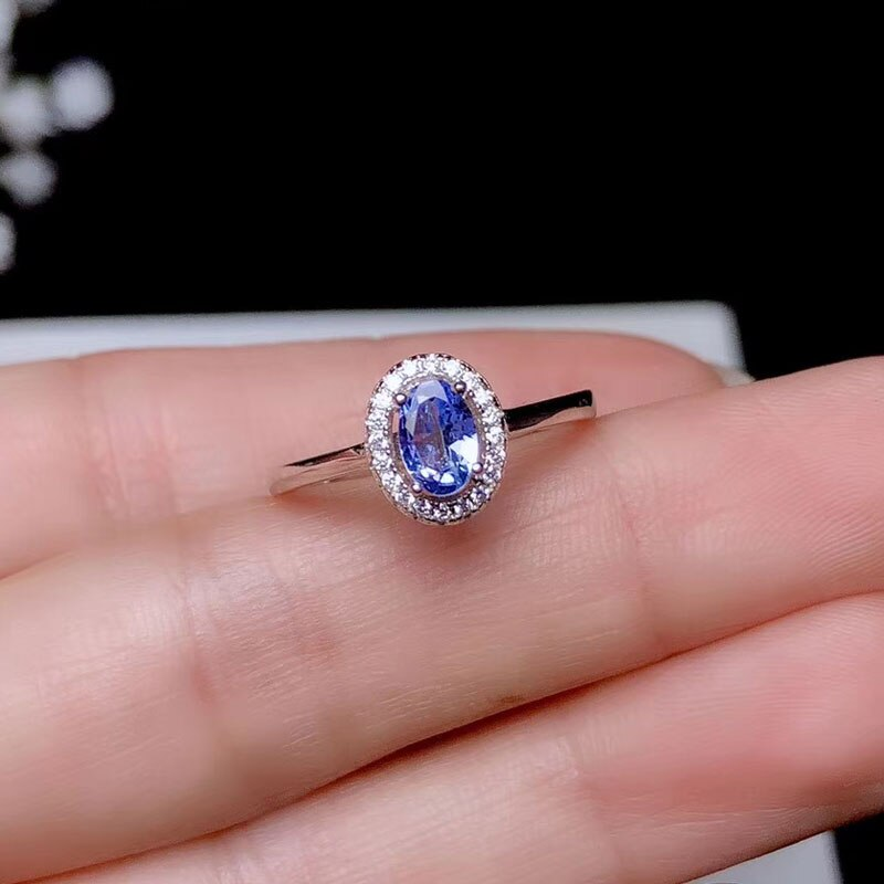 Women's Ring With Natural Tanzanite Silver 925 Sterling