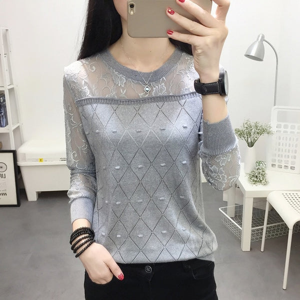2019 summer NEW collar lace render unlined upper garment to hollow out long sleeve short relaxed joker autumn thin sweater frock