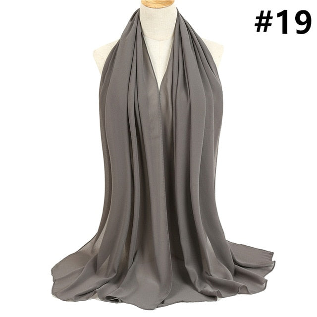 2019 women hijab scarf solid chiffon soft lady shawls and wraps long size pashmina bandana foulard female silk scarves headband