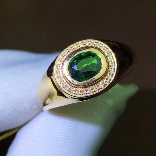 Men's Ring Gold Tsavorite Gemstones & Diamond
