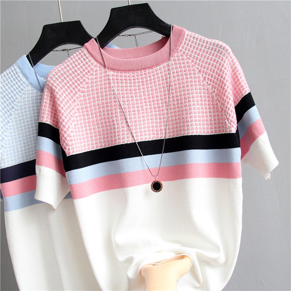 Tshirt Plaid Women Striped T-shirt Cotton | T-shirt Femme Mode 2019