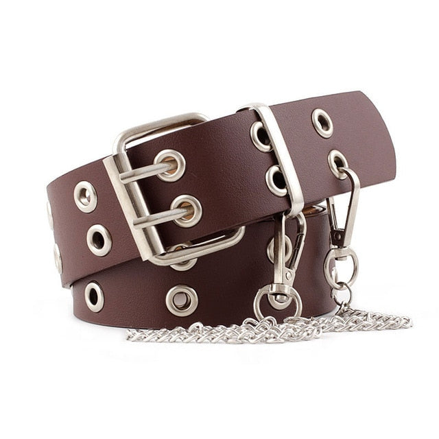 OLOME Vintage Women Punk Chain Belt Black Double Single Eyelet Grommet Leather Buckle Belt Female Ladies Waist Jeans Belts