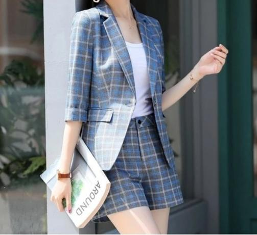 Fashion Plaid Women Business Suits 2 Piece Sets With Shorts and Jackets Coat 2019 Spring Summer Professional Pantsuits Blazers