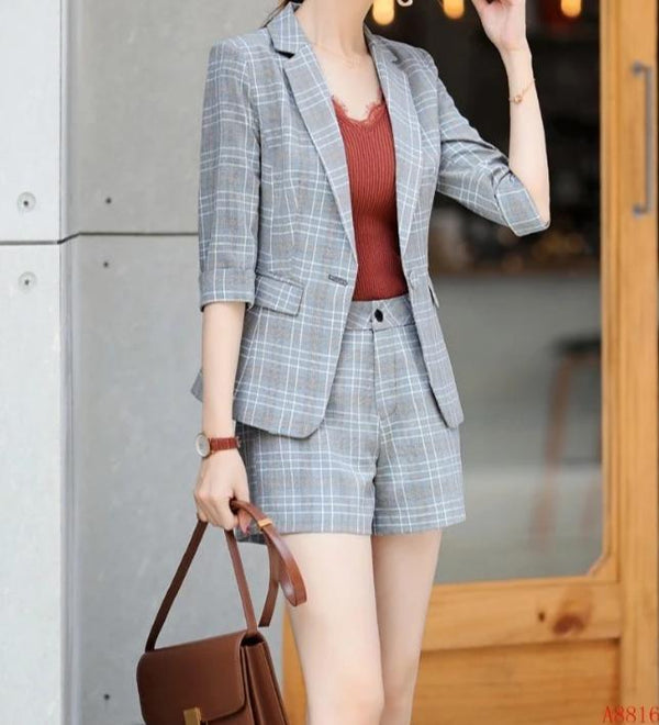 Formal Uniform Designs Women Business Suits 2 Piece Sets With Shorts and Jackets Coat 2019 Spring Summer Blazers Work Wear