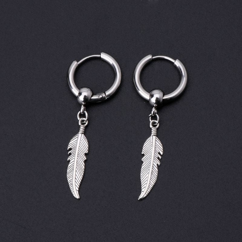 Fashion Earrings for Women Korean Jewelry Hip Hop Drop Earrings for Men Leaf Pendant Dangle Chain Earrings