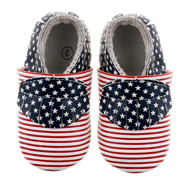 2019 new style gold polka dot and flags  baby boys and girls Genuine Leather Infant/Toddler Girls Baby Moccasins shoes