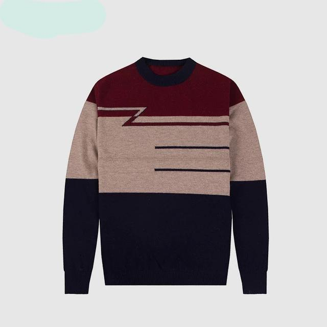 CARANFIER 100% Full Wool Warm Thicken Sweater Men Long Sleeve Pullovers Outwear Man Business Stripes Brand Sweaters Clothing