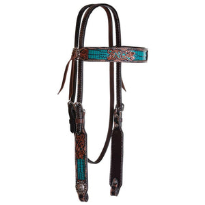 Circle Y Filigree Turquoise Gator Browband Headstall-Western Bridle-Circle Y-ReRide Consignment LLC