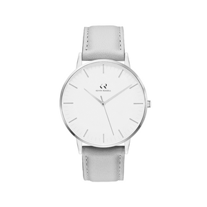 "<h1 style=""color:black;font-size:18px;"">SILVER WHITE / GREY LEATHER<br> <h1 style=""color:grey;font-size:16px;"">36MM</h1>"