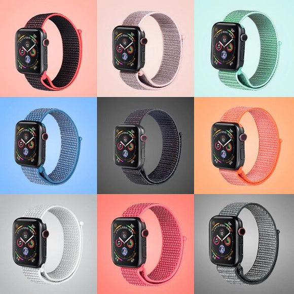 Nine image of Apple watch against pastel solid background, showcasing different colored nylon woven loop bands.