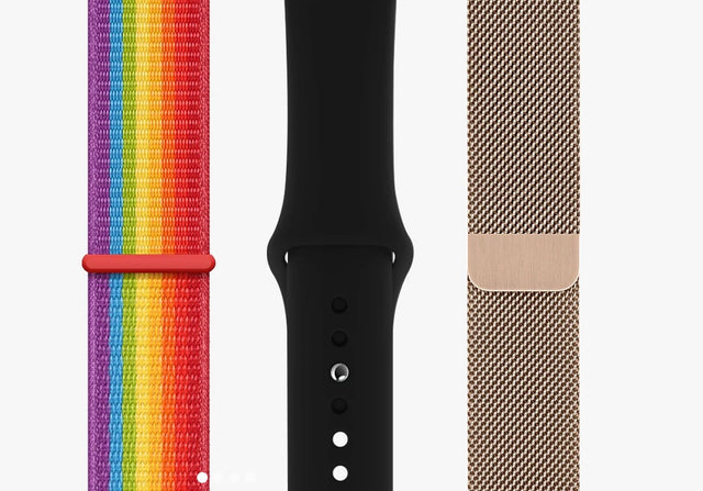 3 watch band straps compatible with Apple Watch - nylon loop, sport band silicone and milanese stainless steel loop