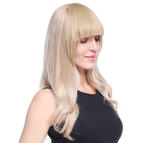 Model wearing blonde clip on blunt bangs