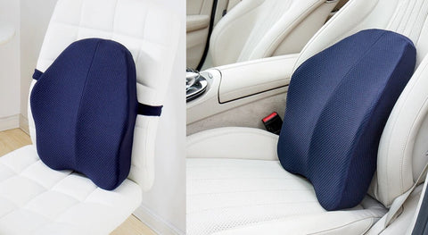 rgonomic Lumbar and Back Support Cushion strapped to a office chair and car seat