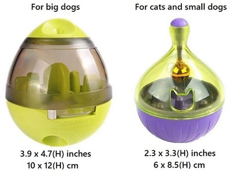 Size comparison of the egg shaped green vs the buoy shaped purple interactive treat dispenser