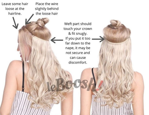 Woman demonstrates how to put on Invisible Wire Halo Hair Extension in blonde.