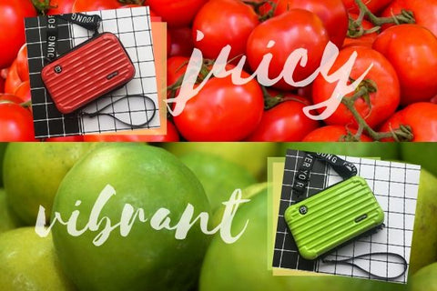 Mini Suitcase Shaped Crossbody Handbag & Clutch in red and green, with images of tomato and lime in the background