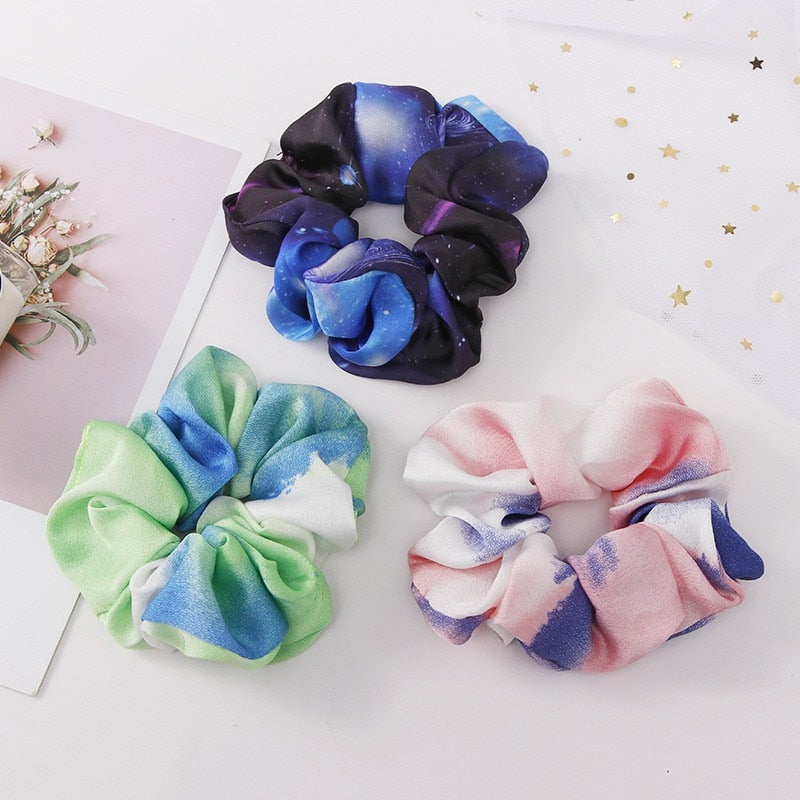 Three tri-colored scrunchies