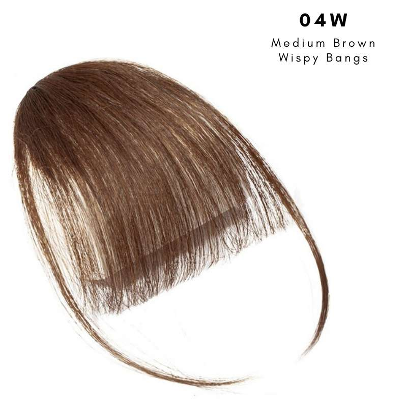 Wispy clip on bangs with human hair in Medium Brown