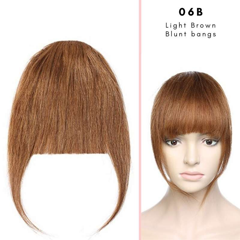 Blunt clip on bangs with human hair in Light Brown