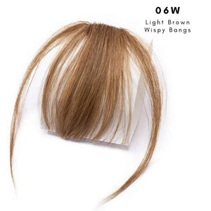 Wispy clip on bangs with human hair in Light Brown