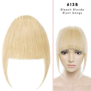 Blunt clip on bangs with human hair in Bleach Blonde