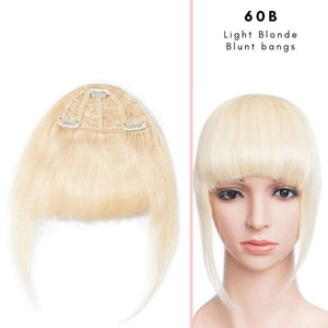 Blunt clip on bangs with human hair in Light Blonde