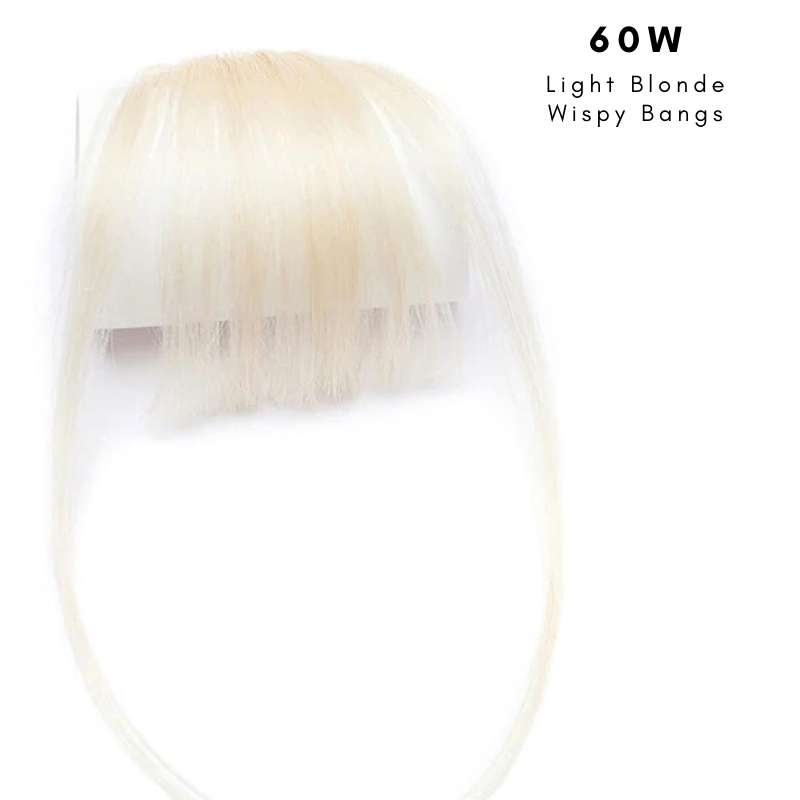Wispy clip on bangs with human hair in Light Blonde