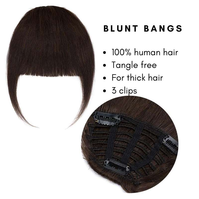 Blunt clip on bangs with human hair features