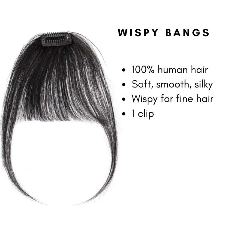 Wispy clip on bangs with human hair features