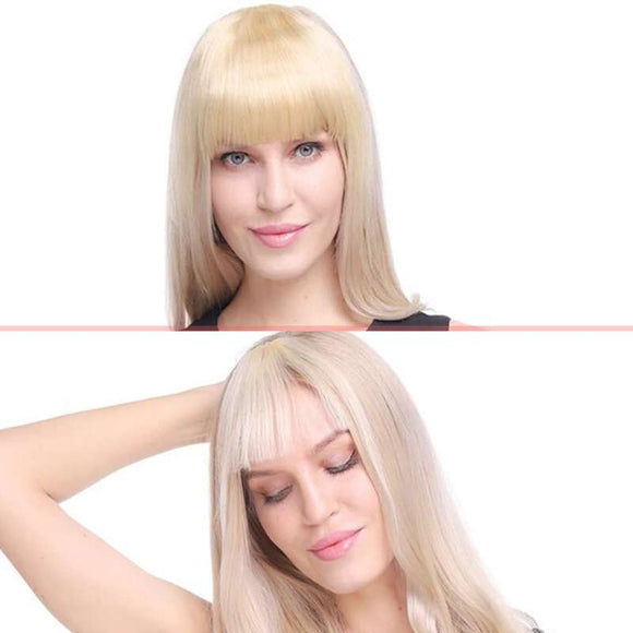 Model showing 2 clip on bangs look with human hair, one blunt and one wispy on a split screen