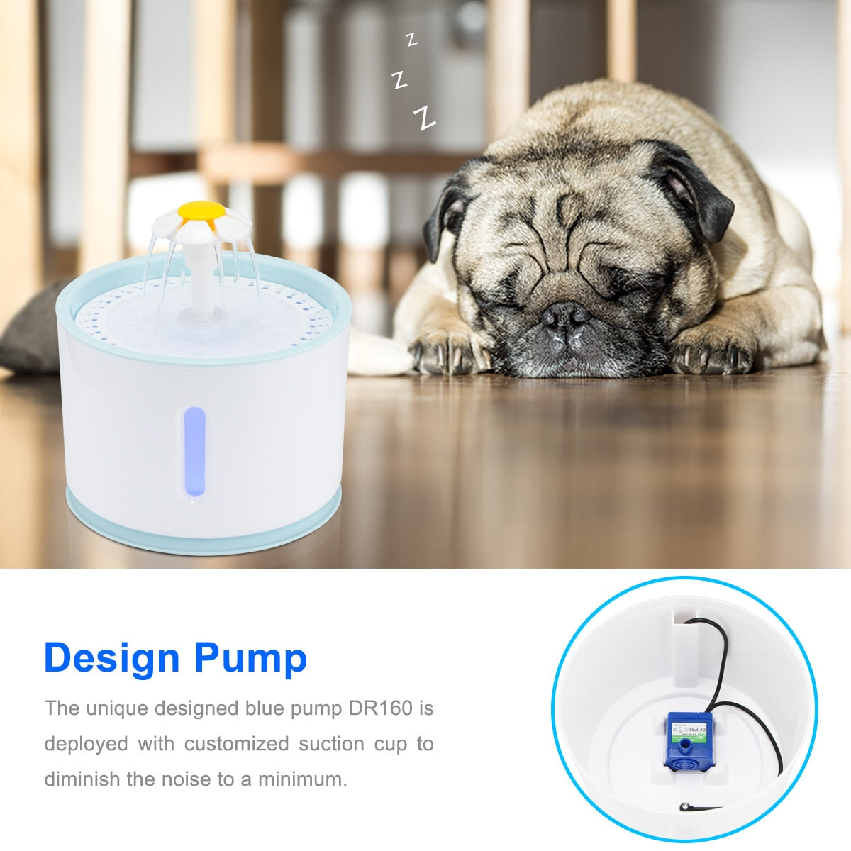 Cat water fountain pump is relatively quiet, image showing dog sleeping peacefully