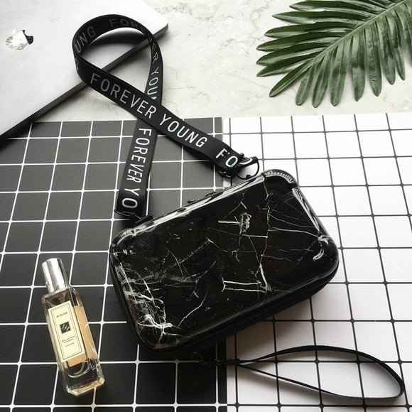 Mini Suitcase Shaped Crossbody Handbag and Clutch in black marble pattern