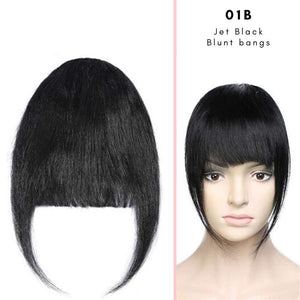 Blunt clip on bangs with human hair in Jet Black