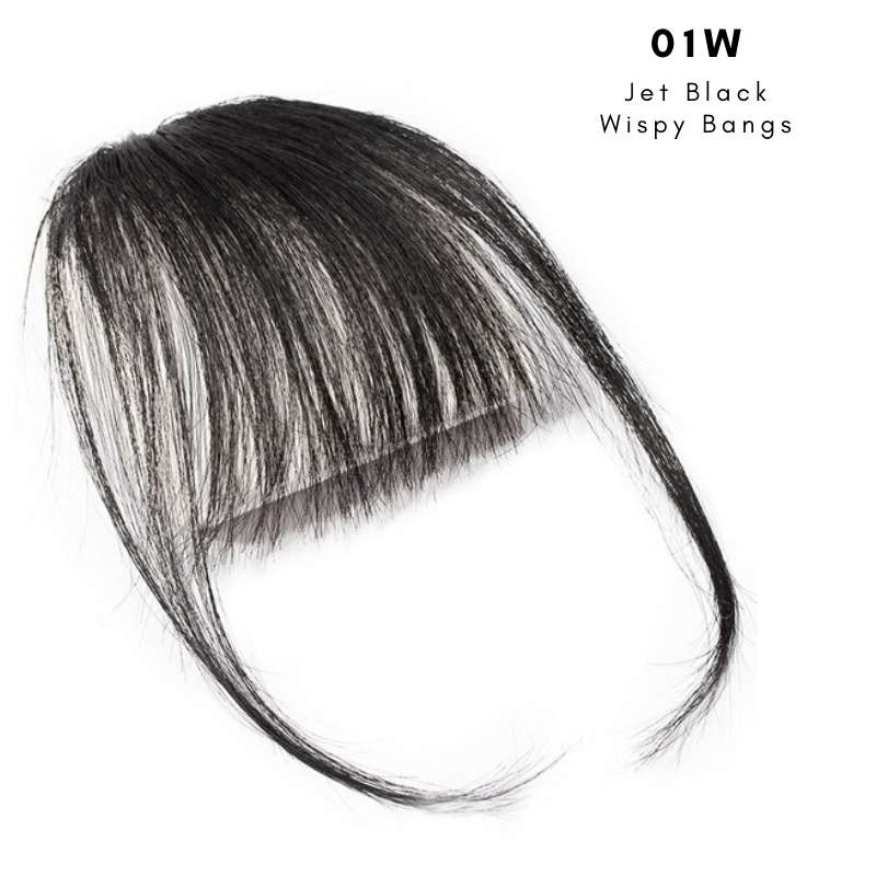 Wispy clip on bangs with human hair in Jet Black