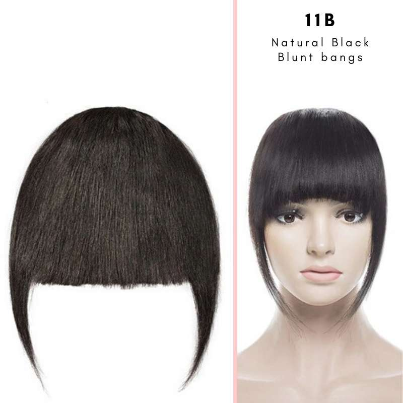 Blunt clip on bangs with human hair in Natural Black