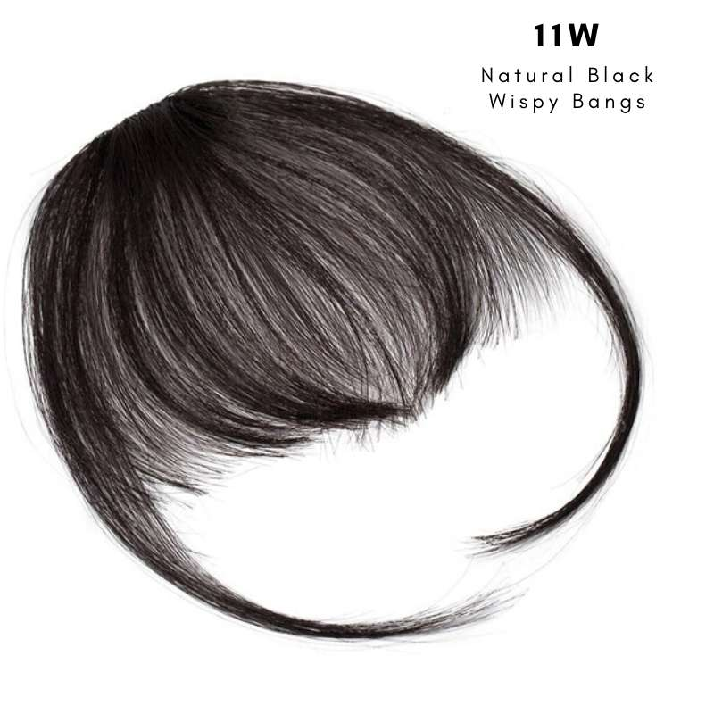 Wispy clip on bangs with human hair in Natural Black