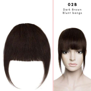 Blunt clip on bangs with human hair in Dark Brown