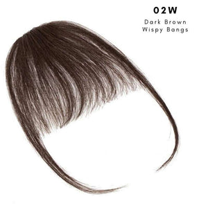 Wispy clip on bangs with human hair in Dark Brown