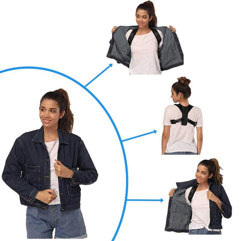 Girl showing how to wear the posture corrector on top of t-shirt and then jacket over it.