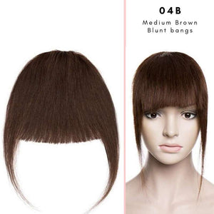 Blunt clip on bangs with human hair in Medium Brown