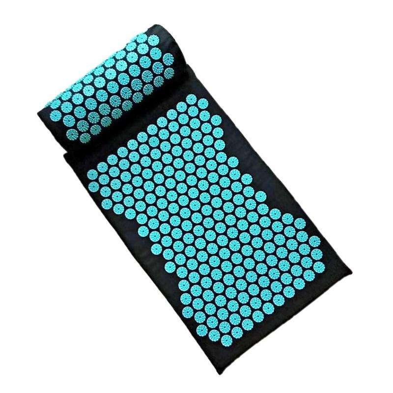 Black acupressure mat and pillow with blue points