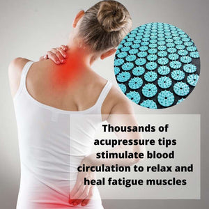 Woman with neck and back pain and close up insert of the pointy tips of the acupressure mat