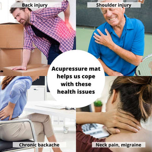 The various types of common health issues, resulting from soreness of muscle that the acupressure mat can help us cope with. Back injury, back pain, shoulder injury, neck pain are common issues the mat can help with.
