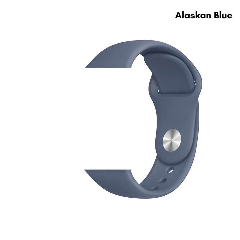 Apple Watch silicone sport band in alaskan blue