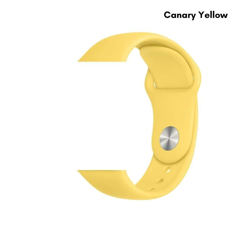Apple Watch silicone sport band in canary yellow