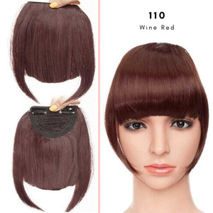 Clip On thick blunt bangs in synthetic hair in wine red