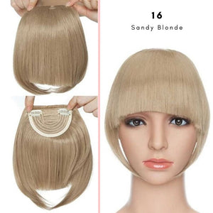 Clip On thick blunt bangs in synthetic hair in sandy blonde