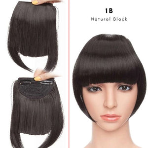 Clip On thick blunt bangs in synthetic hair in natural black